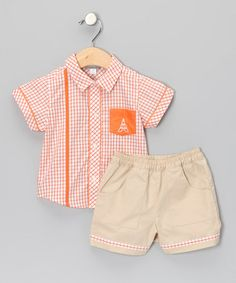 Take a look at this Orange Button-Up & Shorts - Infant & Toddler by Alouette on #zulily today!