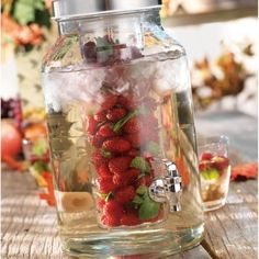 Glass Infuser Drink Dispenser  #bar #strawberry #fruit #drink #drinks #summer #party #water #fun #delicious #sweet