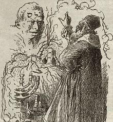 "Rabbi Loew and the Golem,"" Ink on paper, by Mikolas Ales. From: Kalender Cesko-Zidovsky, Prague, Prague, Avatar, The Golem, Modern Halloween, Dictionary Art, Mystique, Under The Influence, Gothic Horror, Archetypes"