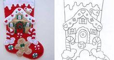 Les Petites: ideas and more ideas Felt Christmas Stockings, Christmas Stocking Pattern, Felt Christmas Decorations, Felt Christmas Ornaments, Christmas Sewing, Christmas Art, Christmas Projects, Handmade Christmas, Christmas Sock
