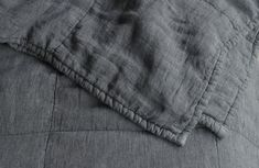 SOCIETY BEDDING, a favorite for those who appreciate quality. Love the Jaspé linen quilt, 100% linen in charcoal for the dark & sultry bedroom.