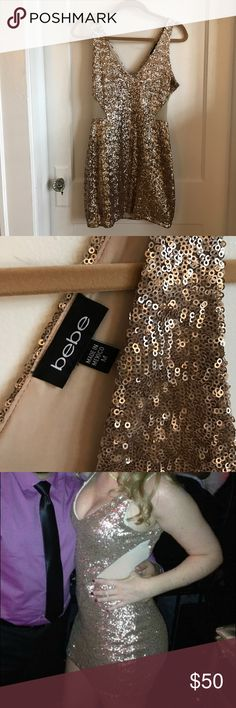 Bebe Sequin mini Sleeveless v-neck sequin dress with mesh cut outs bebe Dresses Mini