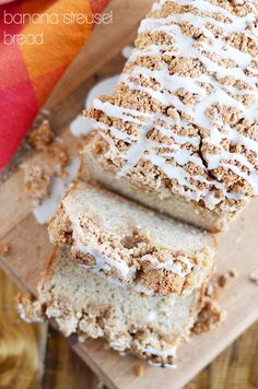 My favorite banana bread with a double batch of cinnamon streusel and icing on top. You won't want to eat banana bread any other way again! Oreo Dessert, Mini Desserts, Crackers, Banana Treats, Sugar Bread, Quick Bread, Sweet Bread, Bread Baking, Baked Goods
