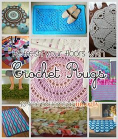 Free Crochet Rug Patterns  - for indoors and out.  Nice to have all these links in one place.  Thanks to Tamara!    #crochet
