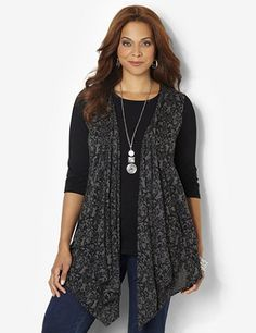 Damask Vest: Add this lovely, draping vest over any of our long-sleeve tees for a beautiful layered look. Soft and cozy for fall, this sleeveless style features a flourishing damask print in a burnout design for a sheer effect. Graceful asymmetrical hem falls longer on each side for a flattering finish. catherines.com #Catherines #PlusSize #PlusSizeFashion