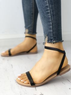 boutiquefeel / Solid Open Toe Single Strap Flat Sandals - Nail design -You can find Flat sandals and more on our website.boutiquefeel / Solid O. Flat Sandals Outfit, Shoes Flats Sandals, Cute Sandals, Cute Shoes, Wedge Shoes, Shoe Boots, Black Flat Sandals, Ankle Strap Flats, Sandal Heels