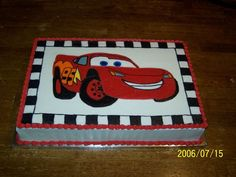 Cars Lightning Mcqueen (Fbct) My 1st FBCT. The car and the checkered border are done using the Frozen Buttercream Transfer technique.