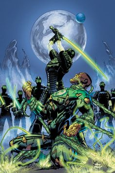 GREEN LANTERN CORPS - John Stewart has gone from being a Green Lantern soldier to prisoner of war! And in the process, he learns who the Corps' mysterious enemy truly is and what they really want. The truth will rock the Corps to its foundation! Green Lantern Green Arrow, Green Lantern Comics, Green Lanterns, Blue Lantern, Comic Book Characters, Comic Character, Comic Books Art, Comic Art, Book Art