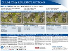 Online Land Auction! Two lots selling separately or as a package. Minimum Bid $5,000 per lot with 6730 – 6736 a 0.38+/- residential lot and 6746 – 6752 a 0.31+/- acre commercial lot. View more details and register to bid online. Pamela Rose Auction Company, LLC.