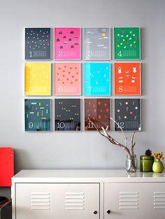 framed colorful calendar