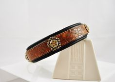 Antique Western Floral Tooled Leather Dog Collar Medium Dogs | Large Dogs | Brown