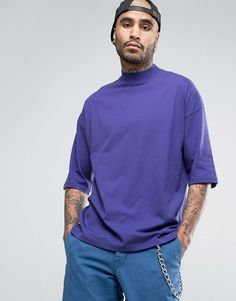 Get this Asos's turtleneck t-shirt now! Click for more details. Worldwide shipping. ASOS Oversized T-Shirt With Turtle Neck - Purple: T-shirt by ASOS, Soft-touch jersey, Turtle neck, Dropped shoulders, Plain design, Looser in the chest and hem, Oversized fit � falls generously over the body, Length: 72cm/28�, Machine wash, 100% Cotton, Our model wears a size Medium and is 6'4�/193 cm tall. ASOS menswear shuts down the new season with the latest trends and the coolest products, designed ...
