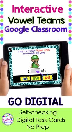 Google Classroom Phonics | Google Classroom |  This 142 slide digital bundle includes interactive vowel teams task cards from 4 Google Classroom resources with drag & drop movable pieces. Students choose the correct vowel team to complete each word. Students can also record their answers on a one page printable sheet, if you prefer. #googleclassroom #vowelteams #phonics #2ndgrade #literacycenters #backtoschool #teacherfeatures #daily5