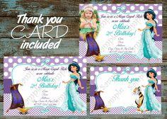 Princess Jasmine Invitation, Princess Jasmine Birthday, Princess Jasmine  Birthday Party Invitation, Princess Jasmine