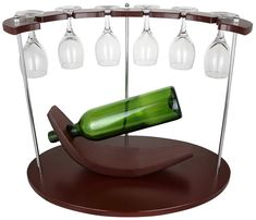 (D) Wine Bottle Holder and 6 Glasses Holder for Dining Table and Bar Counter#bar #bottle #counter #dining #glasses #holder #table #wine Bottle Wall, Wine Bottle Holders, Glass Holders, Hanging Wine Glass Rack, Bar Counter, Wine Rack, Dining Room, Dining Table, Wine Lover