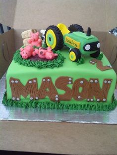 John Deere Tractor Cake - Made this cake for a little boy that loves John Deere tractors. Made of chocolate Gluten Free cake and all animals and accents are fondant or icing. Cupcakes, Cupcake Cakes, Tractor Birthday, Farm Cake, Gateaux Cake, Cakes For Boys, Little Boy Cakes, Gluten Free Chocolate, Cake Creations