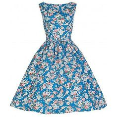 10, Sky Blue Floral, Lindy Bop Women's Audrey Beige Floral Dress NEW