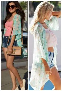 this is so pretty. Layer up an outfit without the bulk of a sweater. Women Floral Printed Half Sleeve Chiffon Kimono Cardigan Tops