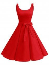 Vintage Bowknot Skater Party Dress - RED