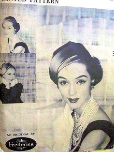 1950s JOHN FREDERICS Flirty Hat Pattern VOGUE 9328 Draped Brim Very Flattering Style Vintage Sewing Pattern