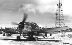 "ww1ww2photosfilms: "" F6F-3N Hellcat night fighter of Marine Night Fighter Squadron 534 running up its engine at Orote airfield, Guam, Marianas, Aug 21 1944. Note radome on left wing. Source United..."