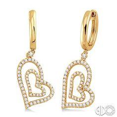 3/4 Ctw Heart Shape Round Cut Diamond Dangle Earrings in 14K Yellow Gold