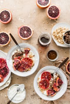 Blood Oranges, Granola, and Greek Yogurt Breakfast Bowls Would love this with coconut yogurt! Dinner Recipes For Kids, Brunch Recipes, Healthy Dinner Recipes, Healthy Snacks, Breakfast Recipes, Breakfast Ideas, Healthy Eating, Greek Yogurt Breakfast, Breakfast Bowls