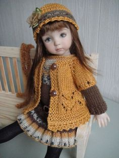 Handknitted OUTFIT for  LITTLE DARLING doll - 13 inches  (Dianna Effner)