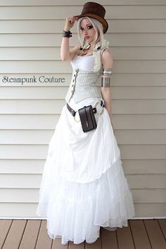 Beige pinstripe underbust vest. Would be an awesome outdoor steampunk wedding dress.