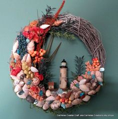 Light House wreath in tropical colors by CarmelasCoastalCraft, $32.00