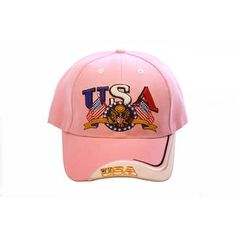 905ba111f8072 Pink USA Embroidered Baseball Cap Cool Baseball Caps
