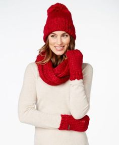 BCBGeneration Pom Pom Beanie, Infinity Scarf, and Fingerless Gloves, A Macy's Exclusive Style | macys.com