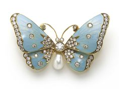 Blue enamel, diamond and pearl butterfly brooch by Moira Fine Jewellery