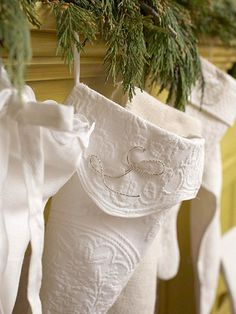 Christmas stockings...perhaps make them out of vintage tablecloths that have a stain or tear. Great way to re-purpose family gems that you can't use as they are!