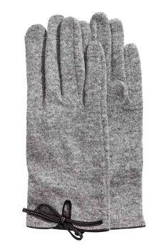 Rękawiczki z mieszanki wełny - Szary melanż - ONA | H&M PL 1