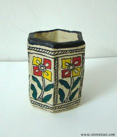 Pencil Holder Papier Mache Indian Handicraft Home by StoreUtsav
