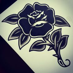 dark black flower old school tattoo traditional