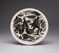 """Designed by Clare Veronica Hope Leighton English, 1899-1989 Wedgewood Barlaston, England, """"Lobstering"""" plate, """"New England Industries"""" series"""