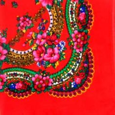 Chusta ludowa - czerwona w kwiaty -- Polish pattern