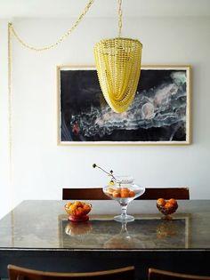 yellow chandelier, a diy project Beaded Chandelier, Chandelier Lighting, Chandeliers, Outdoor Chandelier, Mardi Gras Beads, Interior Decorating, Interior Design, Candle Lanterns, Diy
