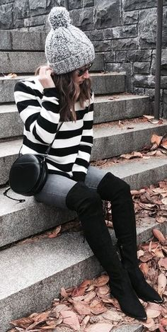 #winter #outfits Grey Wool Beanie // Striped Knit // Black Leather Shoulder Bag // Skinny Jeans // Black Velvet Over The Knee Boots