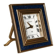 1970's brass and lapis enamel desk clock by Gucci