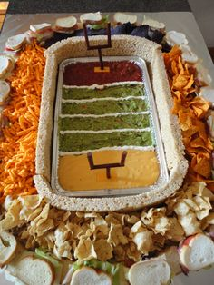 A great DIY idea for your Super Bowl party : The Snackadium! #appetizers #snacks