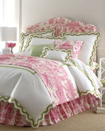 Pink Toile, white and apple green accents - this is exactly what I'm looking for, for my bedroom!