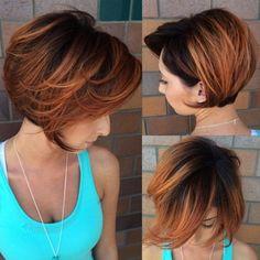 Copper Bob With Black Roots