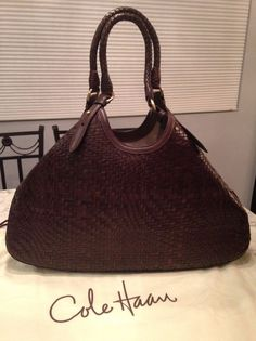 "Cole Haan NEW! Genevieve 19"" Woven Leather Hobo Tote Shoulder Bag Handbag Purse #ColeHaan #TotesShoppers GORGEOUS!!! NEW WITHOUT TAGS!!! STUNNING CHOCOLATE BROWN WOVEN LEATHER!!! VERY RARE IN THIS COLOR, SIZE AND CONDITION!!! SALE!!! WOW!!!"