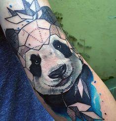 Panda Tattoos, Love Tattoos, Body Art Tattoos, Tattoos For Guys, Image Panda, Geometric Tattoos Men, Panda Art, Panda Love, Tattoo Designs Men