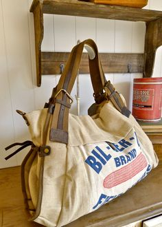 Bil-Der-Up Brand- Gibson City, Illinois - Vintage Seed Sack Weekender -  Americana OOAK Canvas   Leather Tote... Selina Vaughan Studios a2b9ece107