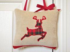 Reindeer Door Hanger Christmas Tartan Plaid Red by PookieandJack, $10.00