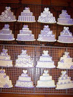 Wedding Cake Cookies.   Cute wedding favors!